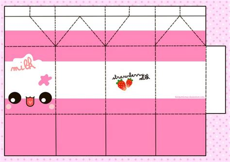 kawaii box template printable diy and crafts pinterest strawberry milky papercraft by hiroponlover deviantart com