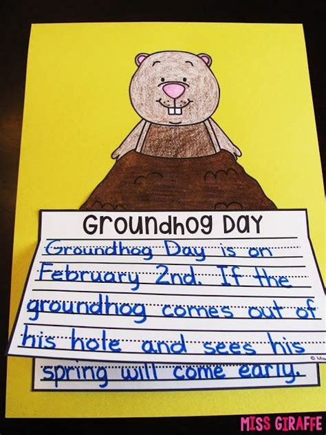 groundhog day prediction and easy groundhog day craft where students write