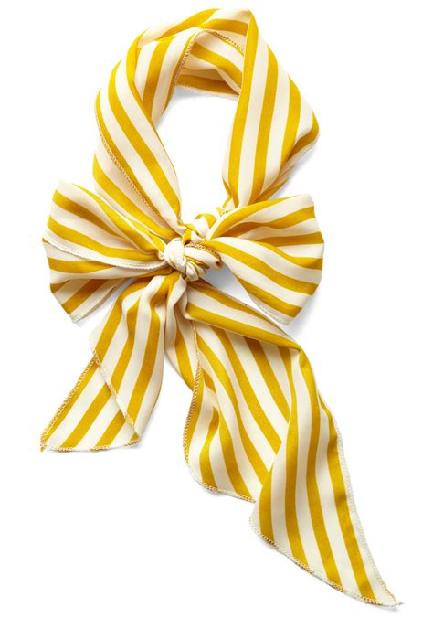 bow to scarf in mustard stripes mod retro vintage