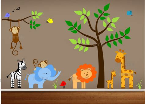 Nursery Wall Stickers Jungle jungle theme nursery wall decal jungle bedroom art playroom