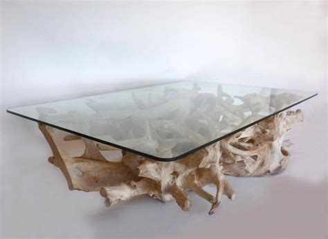 sculptural teak root coffee table with glass top at 1stdibs