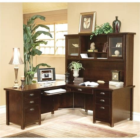 L Shaped Executive Desk With Hutch Kathy Ireland Home L Shaped Executive Desk With Hutch In Cherry Tlc684l Tlc682 Pkg