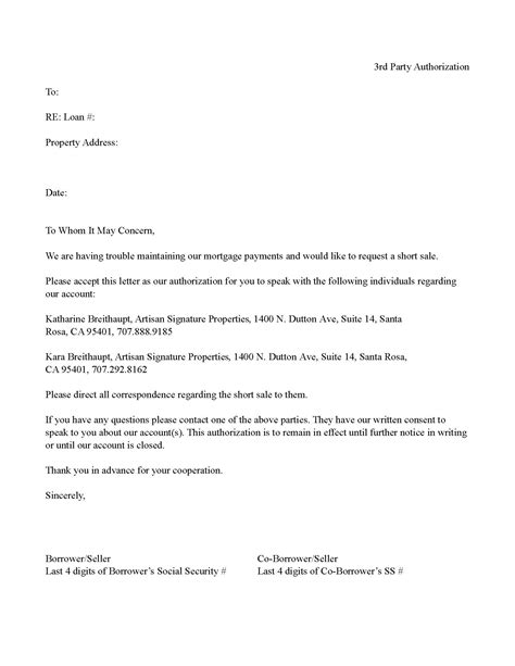 authorization letter for bank work bank 3rd letter of authorization sale template