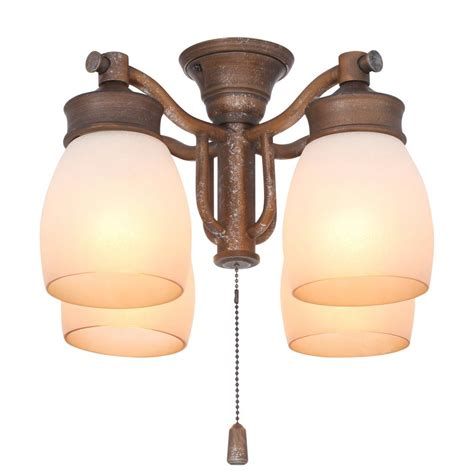 Fan Light Fixture Casablanca 4 Light Aged Bronze Ceiling Fan Fixture With Tea Stain Glass 99087 The Home Depot