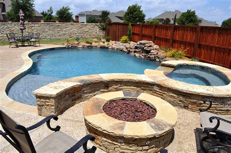 pool fire pit dallas texas swimming pools and spas photos inground