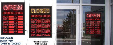 light up open closed sign open hours signs fully customizable with daily business