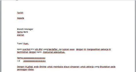 contoh surat buka akaun simpanan untuk pekerja contoh resume