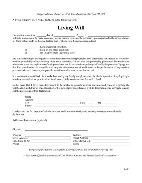 Free Florida Living Will Form Pdf Eforms Free Fillable Forms Florida Will Pinterest Pdf Arkansas Will Template