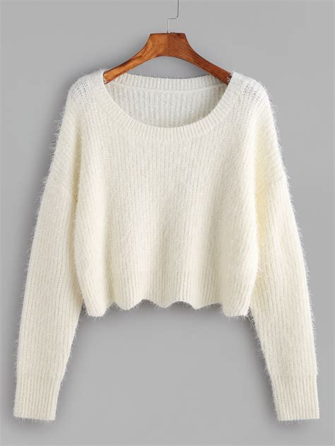 cropped sweater scoop neck cropped fluffy sweater makemechic