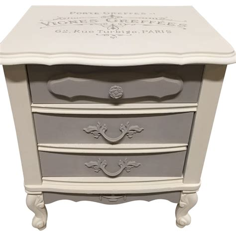 White Provincial Nightstand vintage provincial white gray nightstand chairish