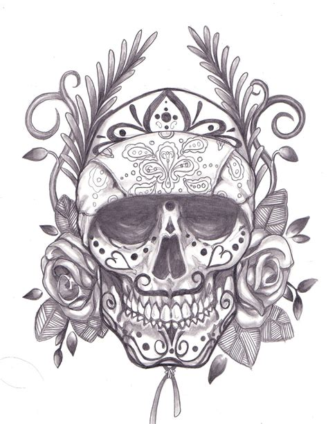 day of the dead skull tattoo drawings on sugar skull drawings sugar skull