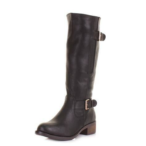 womens black knee high leather look chunky heel