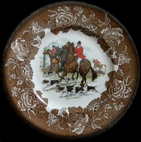 fox hunting decor for the home vintage brown transferware english fox hunt scene plate