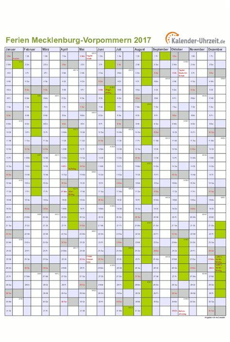 Kalender 2018 Schulferien Mv Ferien Meck Pomm 2017 Ferienkalender Zum Ausdrucken