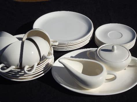 Mid century modern vintage pure white china dinnerware