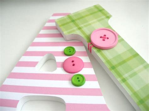 Decorated Wooden Letters For Nursery Custom Decorated Wooden Letters Pink Green Nursery Bedroom H