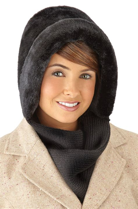 knitting pattern hat with scarf attached faux fur winter hat with attached scarf by collections