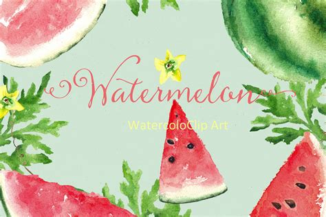 watercolor fruits clipart by digitalartsi thehungryjpegcom watermelon watercolor clip art graphics on creative market
