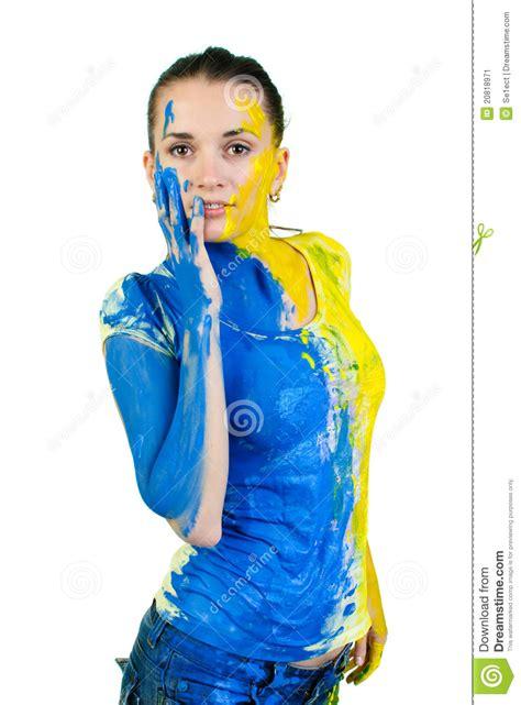 schöne gemalte bilder junge sch 246 ne gemalte frau stockbild bild 20818971