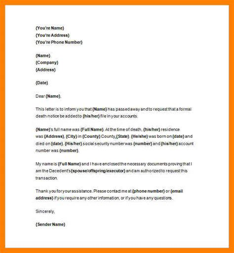 sle invoice memo death announcement letter letters 6 death announcement