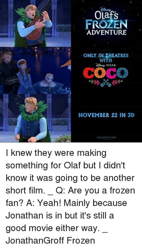 coco olaf movie olafs frozen adventure only in theatres with coco november
