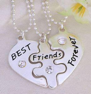 3 part bff best friends forever love break heart pendent