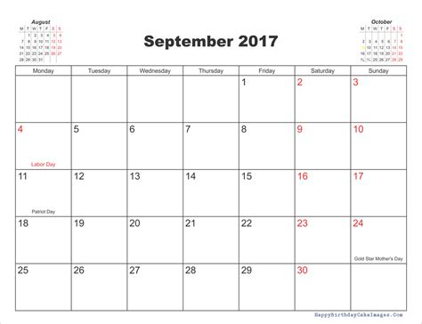 Calendar September 2017 With Holidays September 2017 Calendar Printable Template With Holidays
