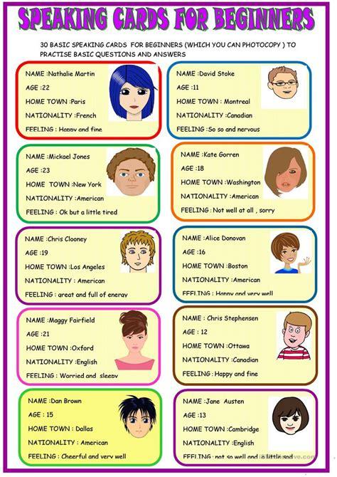 speaking cards for beginners worksheet free esl