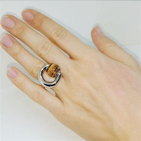 gucci horsebit new stunning sterling silver bamboo ring