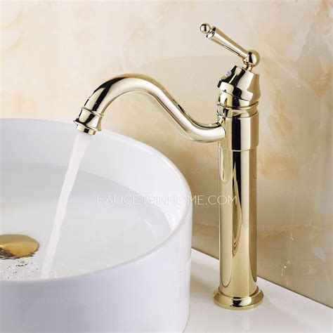 bathroom faucets for vessel sinks retro gold vessel heightening brass bathroom sink faucet