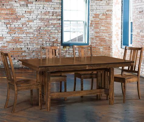 eco trestle table dining room set amish eco trestle