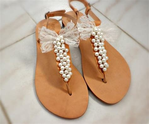 bridal sandals with pearls bridal shoes pearls decorated with lace bow wedding