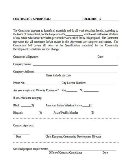 sle business plan general contractor contractor proposal bid form contractor 28 images