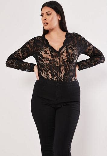 size black scallop lace long sleeve bodysuit missguided