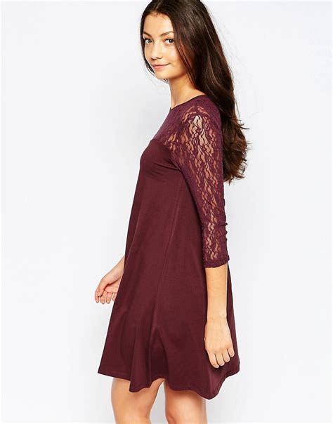 swing dress with lace sleeves swing dress with contrast lace 3 4 sleeves by vero moda