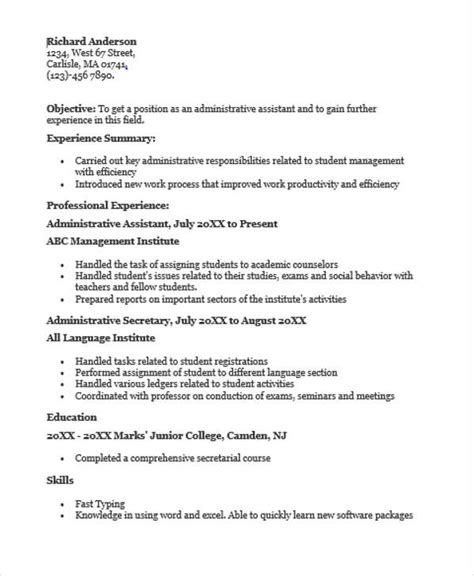 Administrative Assistant Qualifications by 24 Education Resume Templates Pdf Doc Free Premium Templates