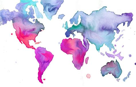 The World In Watercolor watercolor world map illustration no 7 print