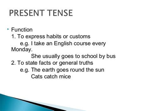 pattern of simple tenses simple present tense