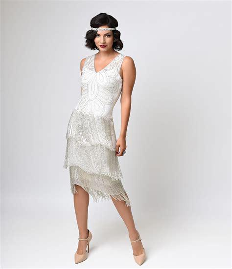 Found Ports Beaded Dress by Unique Vintage White Beaded Gigi Chiffon Fringe Flapper