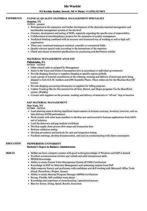 material management resume sles velvet