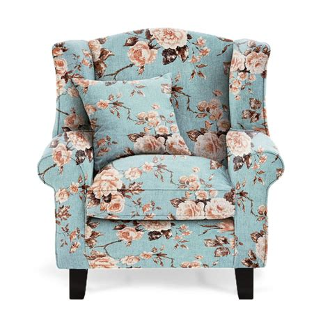 Floral duck egg fabric wingback chair sloane amp sons