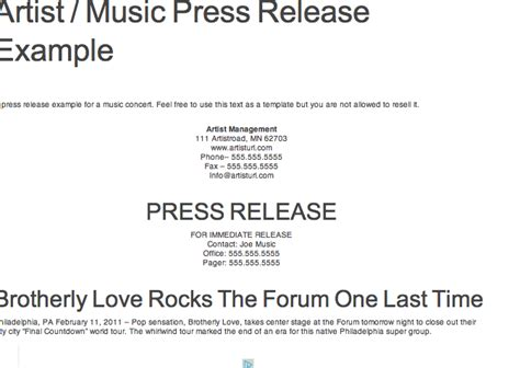 music artist press release template reference for press kit assignment exle of press