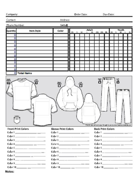 Free Screen Printing Order Form Screen Printing Order Form Template
