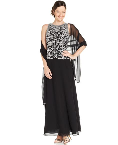 j kara sleeveless beaded chiffon gown and shawl in black