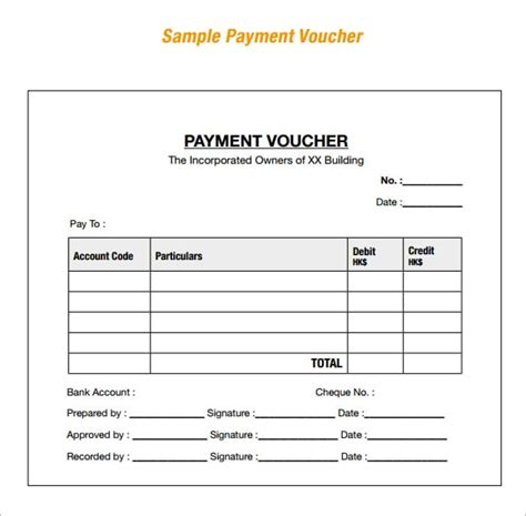 Receipt Voucher Template Word by 8 Payment Voucher Templates Word Excel Pdf Templates