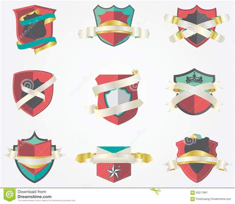 Set Of 9 Templates For set of 9 shield badges design template stock vector