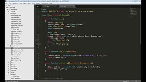 tutorial codeigniter 3 pdf tutorial codeigniter 3 login dengan password hashing youtube
