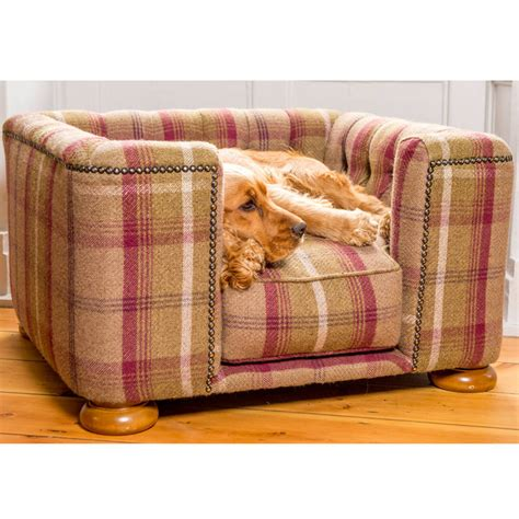 bedside dog bed tetford square chesterfield dog bed in balmoral tweed by