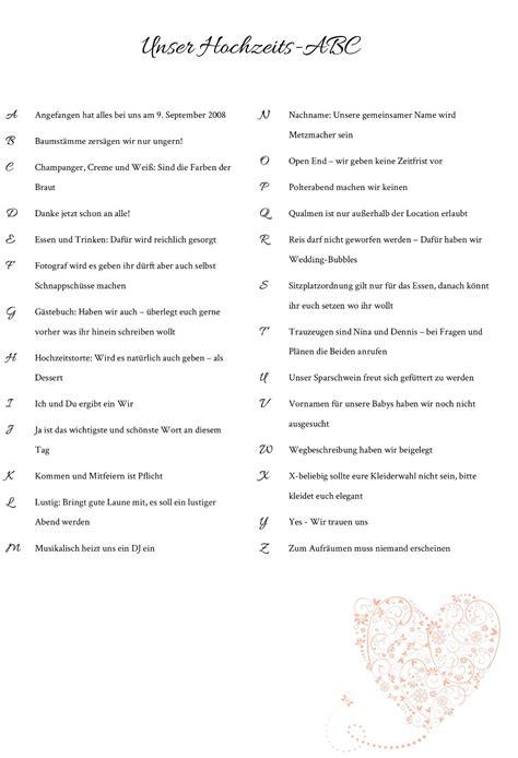 Das Hochzeit by Hochzeits Abc F 252 R Die Hochzeitsg 228 Ste Vorlagen Infos