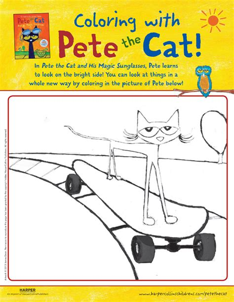 coloring page for pete the cat and his four groovy buttons pete the cat and his magic sunglasses coloring pete the